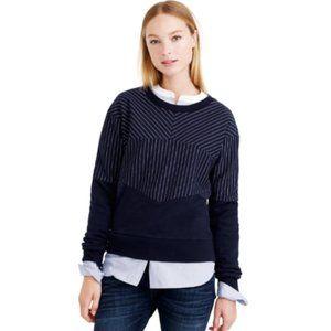 J. Crew Pieced Pinstripe Pullover Sweatshirt Blue